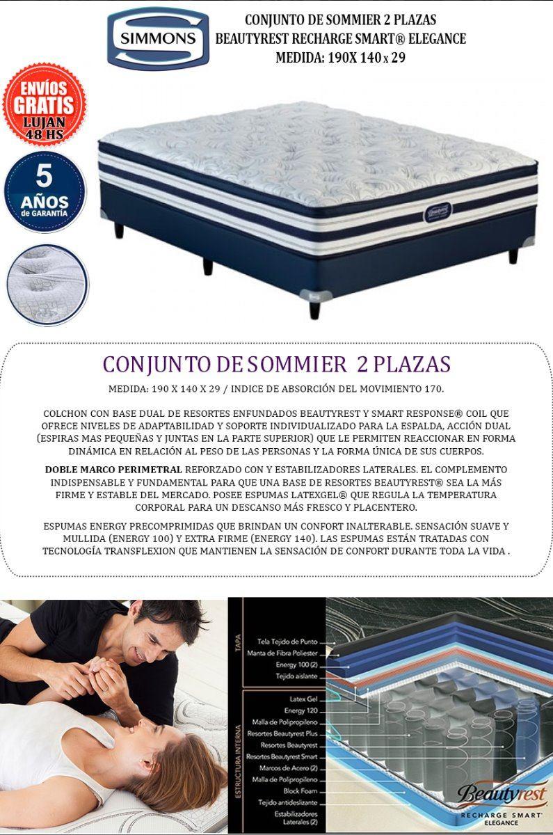 Sommier Y Colchon Beauty Smart Elegance 140x190 - $ 46.810,00 en ...