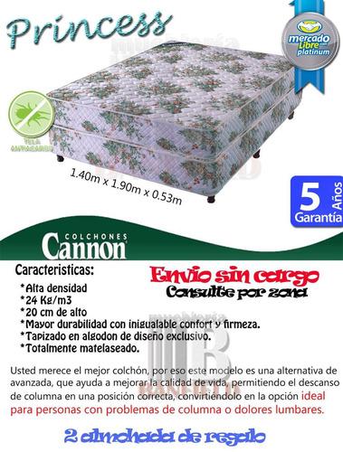 sommier y colchon cannon princess 140 x 190 + 2 almohadas