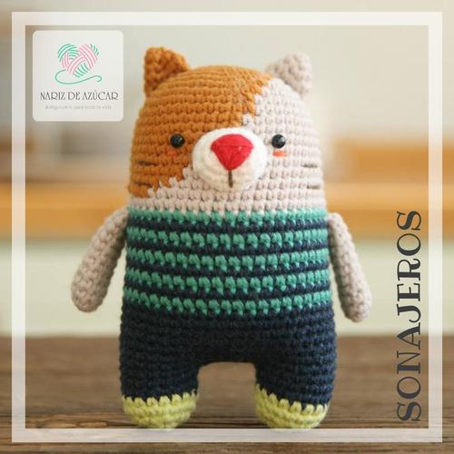 sonajero gato crochet - tienda nariz de azúcar