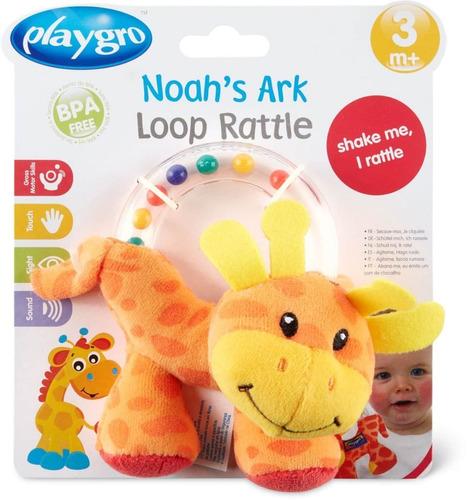 sonajero para bebe noah's ark giraffe loop rattle playgro