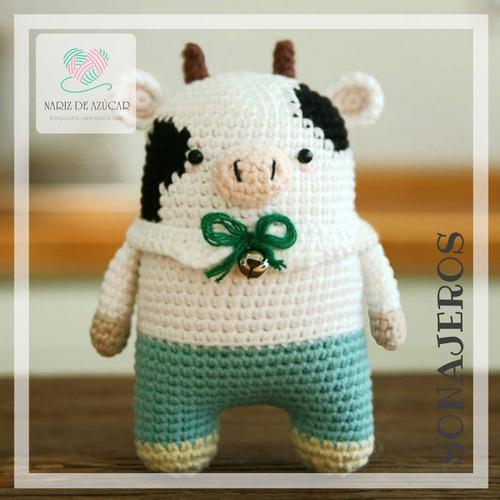 sonajero vaquita crochet - tienda nariz de azúcar