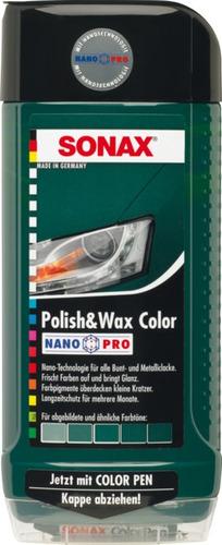 sonax polish & wax color verde 500ml nanopro
