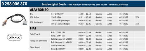 sonda lambda alfa romeo 147 2.0 16v 00-10 bosch 0258006376