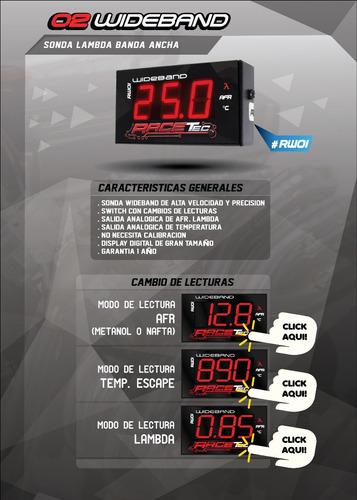 sonda wideband racetec, no innovate, fueltech, aem, nueva!