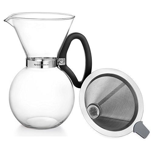 songmics 34 oz pour over coffee maker dripper 8 cups, borosi