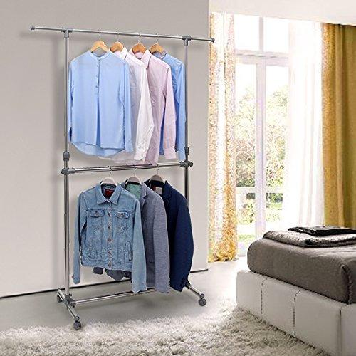 songmics barra doble estante de ropa para colgar ropa ropa