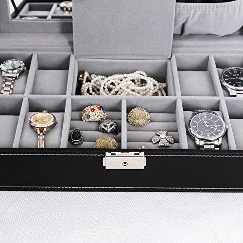 songmics black jewelry box 8 reloj organizador storage case