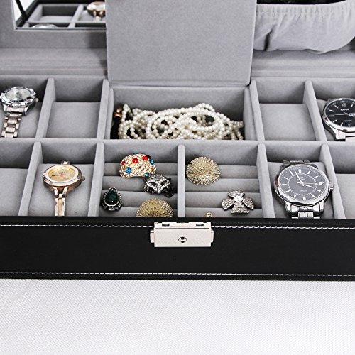 songmics caja de joyas negro 8 reloj organizador de cuero...