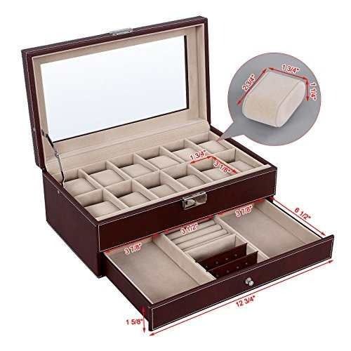 songmics caja de reloj organizador de joyas