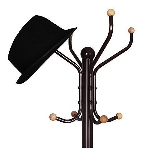 songmics perchero metal soporte pie sombrero 12 ganchos meta