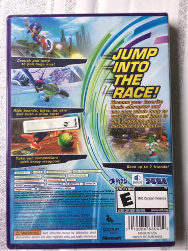 sonic free riders para xbox 360. requiere kinect