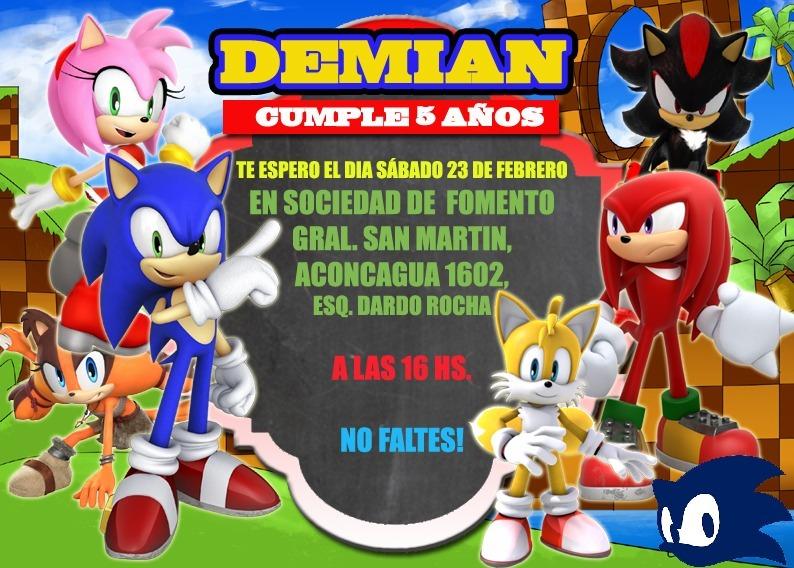 Sonic Promo 50 Tarjetas Invitaciones Impresas Envio Gratis