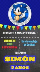 Sonic Tarjeta Invitación Digital Imprimible Whatsapp