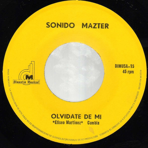 sonido mazter - olvídate de mí - sencillo 7 pulgadas
