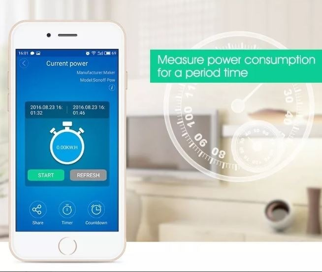 Sonoff Pow 16a Medição De Consumo Elétrico Interruptor Wifi