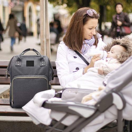 sonolife mochila pañalera maternidad de gran capacidad gris