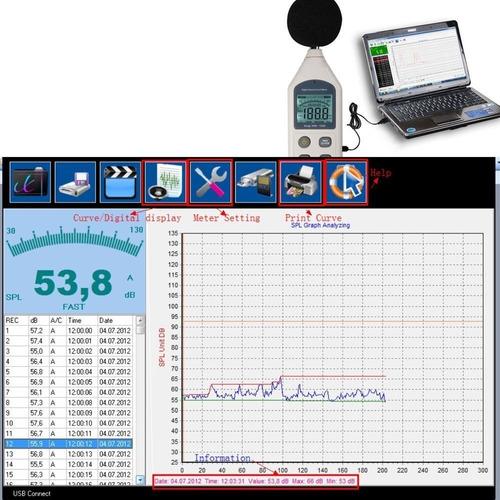 sonómetro decibelimetro decibel sonido medición sd usb pc