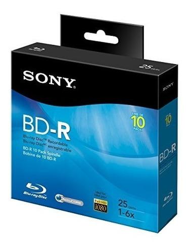 sony 10bnr25rns disco blu-ray grabable de 6 x 25 gb - eje de