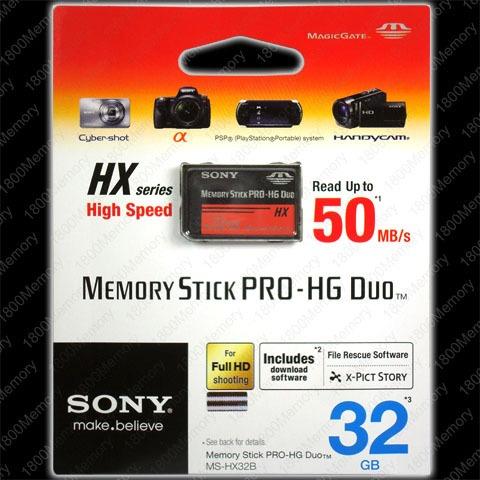 sony 32gb tarjeta memoria memory stick pro hg duo 50mb/s