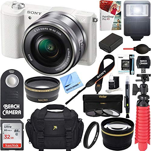 sony alpha a5100 hd 1080p mirrorless digital camera white +