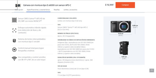 sony alpha ilce 6000 wifi nfc + lente sel55210