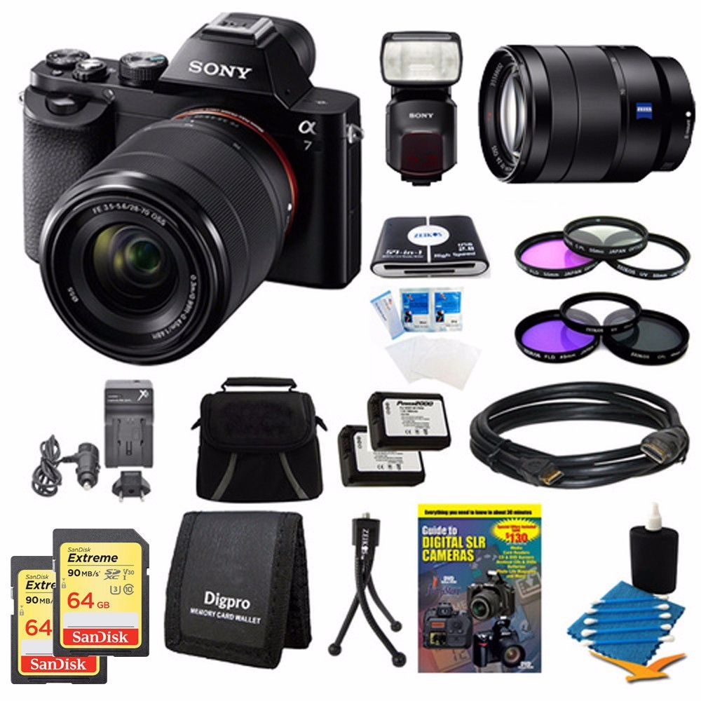 Sony A7k A7 Cmara Dslr De 243 Mp Digital Intercamb Wasabi Power Battery 2 Pack And Charger For Np Fw50 Cargando Zoom