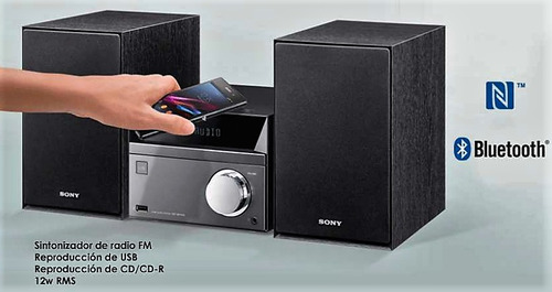sony equipo de sonido; bluetooth/nfc/usb/cd/mp3/aux/radio fm