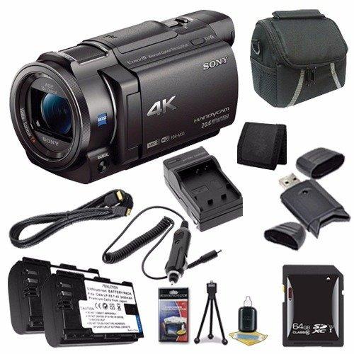 sony fdr-ax33 4k ultra hd handycam camcorder + np-fv70 batte