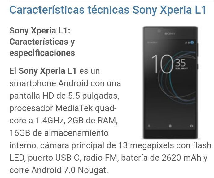 Sony G3313 Xperia L1 .publico Y Mayor - $ 6.999,00 en Mercado Libre
