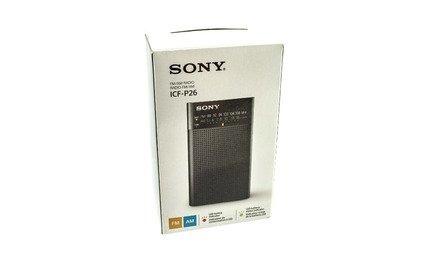 sony icfp26 radio am / fm portátil negro amplificador; bono