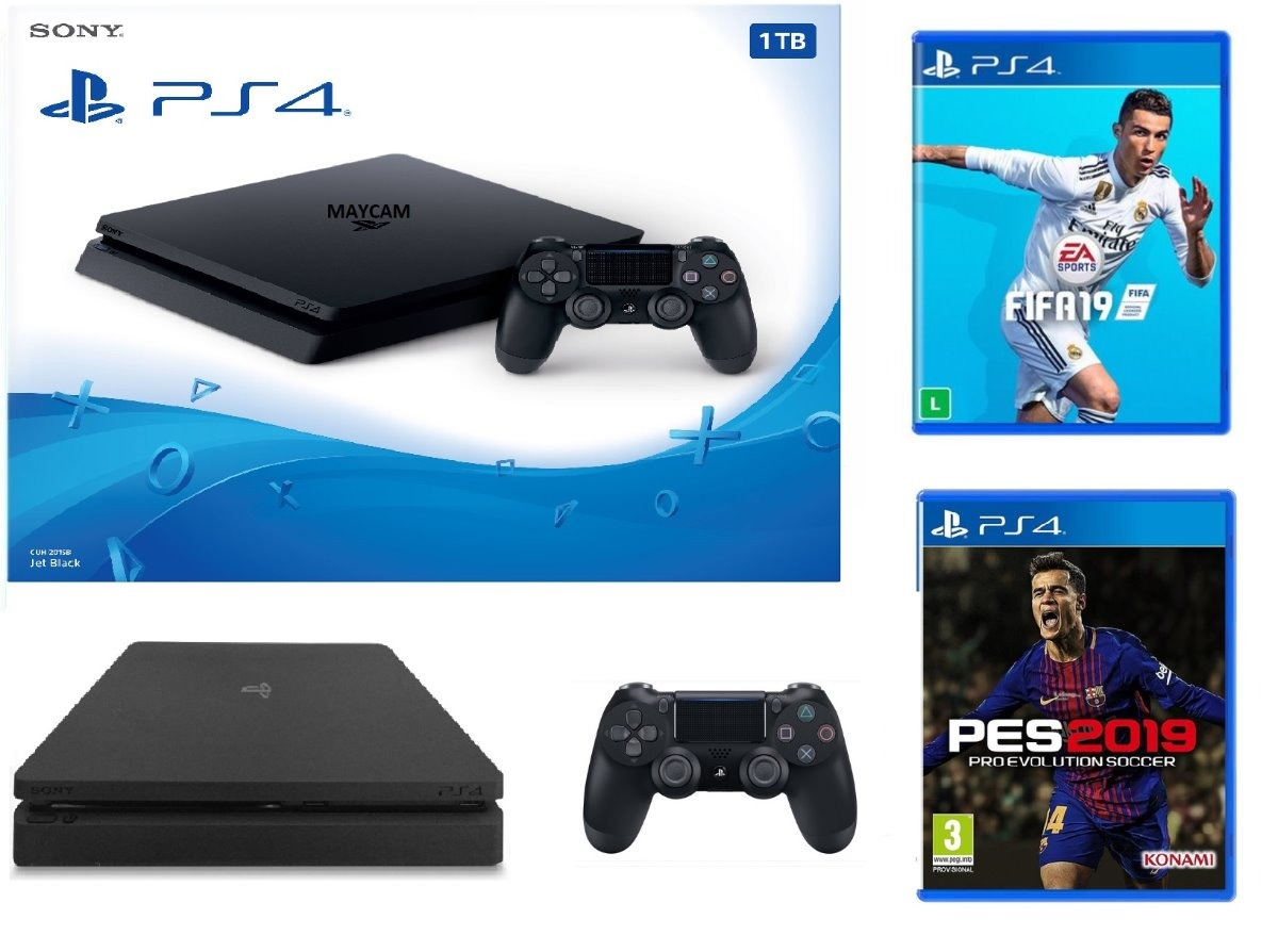 Sony Playstation 4 1tb Ps4 Ultraslim Pes 2019 O Fifa 19 21 990