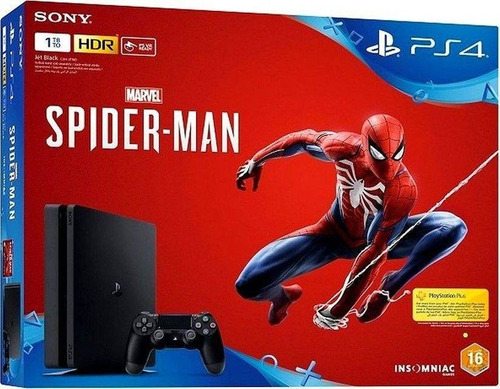 sony playstation 4 1tb ps4 ultraslim spiderman + unchurted 4
