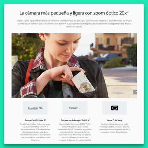 sony wx350 camara digital 18.2 mp zoom 20x wifi nfc exmor