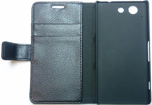 sony xperia z3 compact mini estuche tipo agenda +lam.protec.