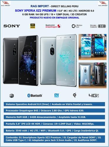 sony xz2 premium / 6gb / 64gb / 19+12mp / 5.8  4k - black
