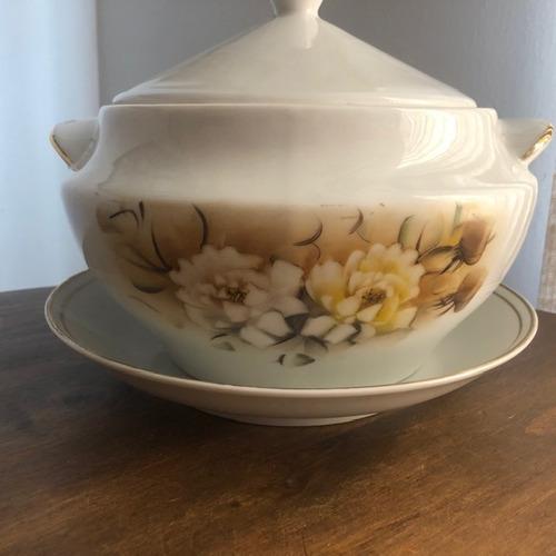 sopeira com prato porcelana pintado a mão 2,8l