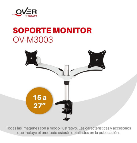 soporte 2 monitores led 15-27 pulgadas inclina rota m3003 c