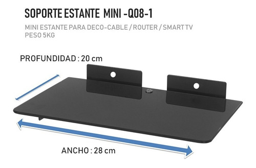 soporte bandeja rack vidrio dvd ps4 xbox, tv box, smart