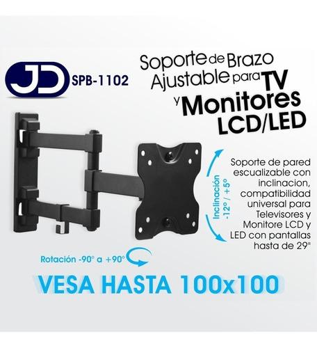 soporte base pared monitor tv hasta 29'' 10x10cm jd spb-1102