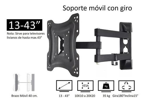 soporte base pared móvil con giro para tv de 27 32 37 42 43