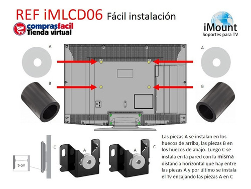soporte base pared tv de 13 24 32 40 42 43 50 55 65 pulgadas