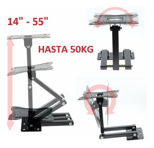 soporte base pared tv lcd led base 14 hasta 55 '' 50kg full