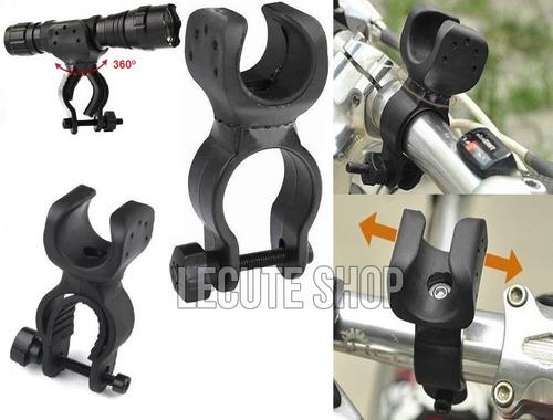 soporte base porta lampara táctica para bicicleta giratorio