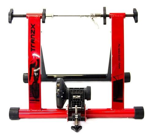 soporte bicicleta piso rodillo o entrenamiento tranzx rojo