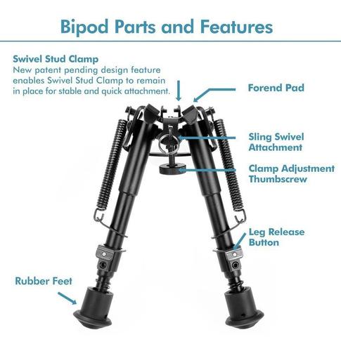 soporte bípode regulable para rifle de caza, 6-9 in