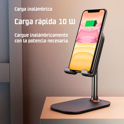 soporte cargador inalambrico stand dock station wireless 10w