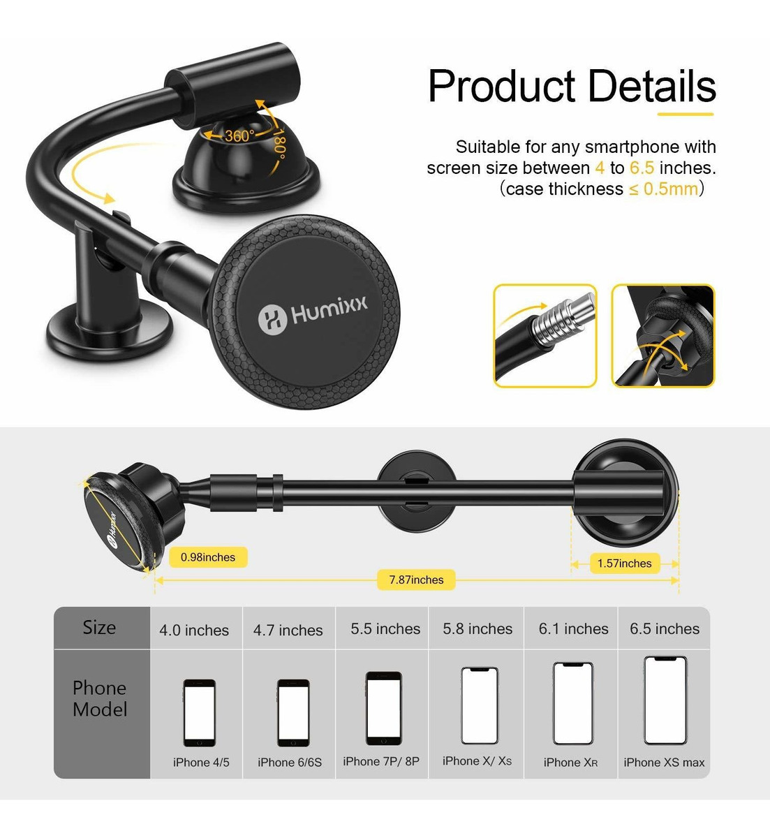 Super Magnetic Phone Car Holder Long Arm for Any Smartphone under 6.5 Inche HX-PH03 Car Phone Mount Humixx Long Arm Universal Magnetic Cradle Windshield Dashboard Cell Phone Mount Holder with 4 Metal Plates