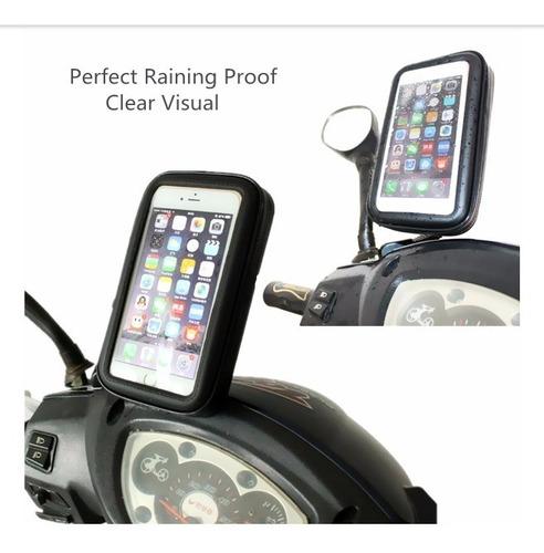 soporte celular reforzado moto impermeable enganche espejo