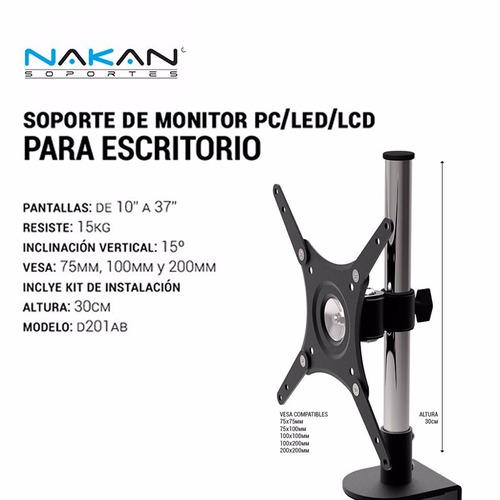 soporte de escritorio nakan d201ab 15kg sugerido 10 a 37 pul