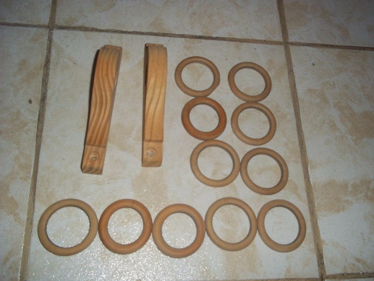 soporte de madera con argollas y ganchos para cortinas